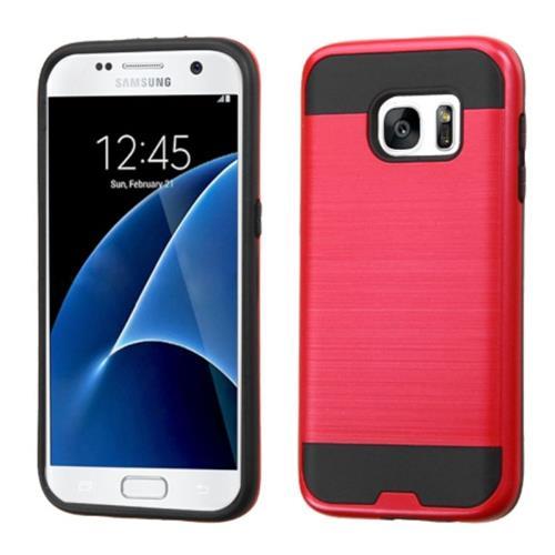 Insten Hard Hybrid Silicone Case For Samsung Galaxy S7, Red/Black