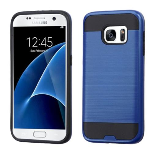 Insten Hard Hybrid Rubberized Silicone Cover Case For Samsung Galaxy S7, Blue/Black