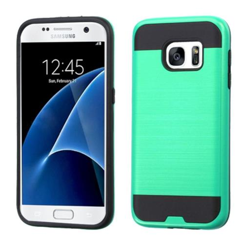 Insten Hard Dual Layer Silicone Cover Case For Samsung Galaxy S7, Green/Black