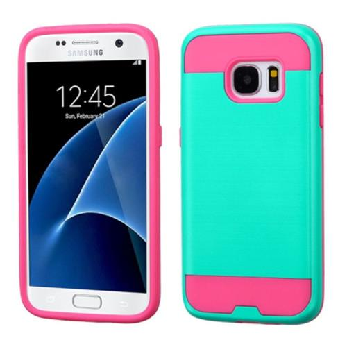 Insten Hard Hybrid Rubber Coated Silicone Cover Case For Samsung Galaxy S7, Teal/Hot Pink