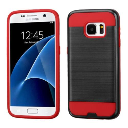Insten Hard Hybrid Rubberized Silicone Cover Case For Samsung Galaxy S7, Black/Red