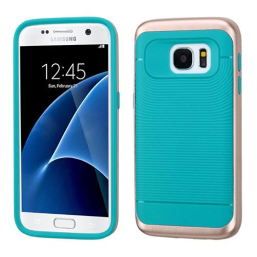 Insten Hard Dual Layer Silicone Cover Case For Samsung Galaxy S7, Teal/Rose Gold