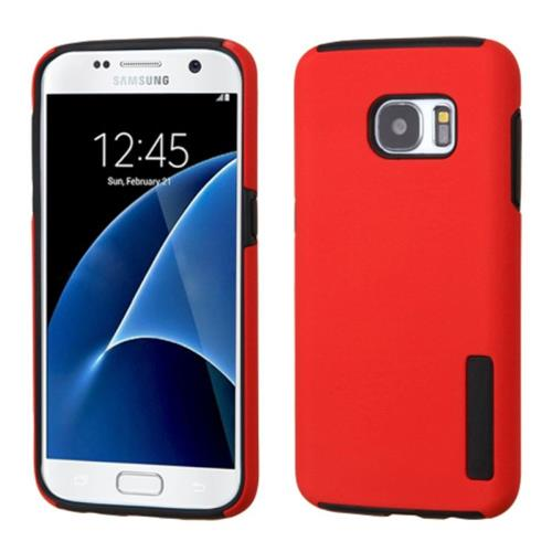 Insten Hard Hybrid Rubber Silicone Case For Samsung Galaxy S7, Red/Black