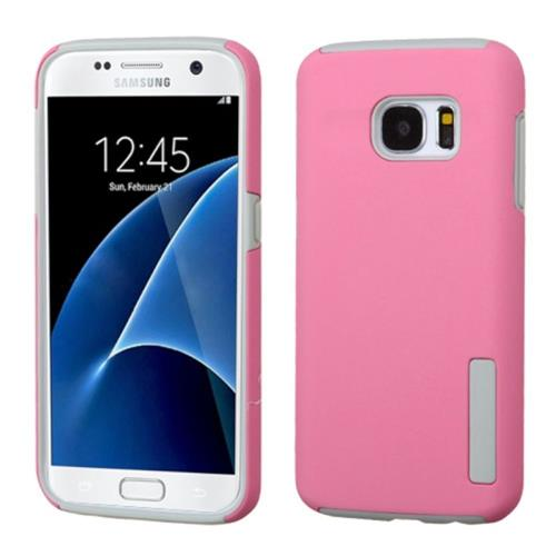Insten Hard Hybrid Rubber Coated Silicone Case For Samsung Galaxy S7, Pink/Gray