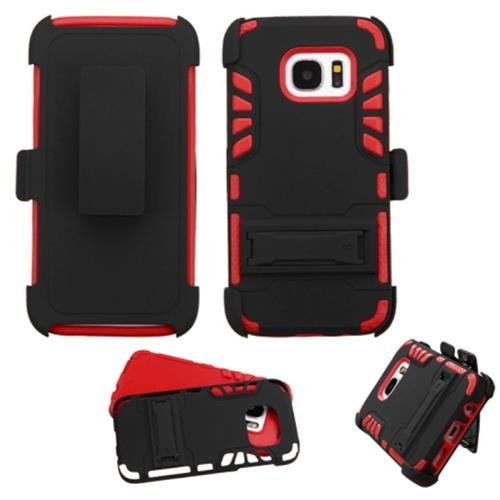 Insten Hard Hybrid Rubber Silicone Cover Case w/stand/Holster For Samsung Galaxy S7, Black/Red
