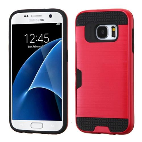 Insten Hard Hybrid Rubberized Silicone Case w/card slot For Samsung Galaxy S7, Red/Black