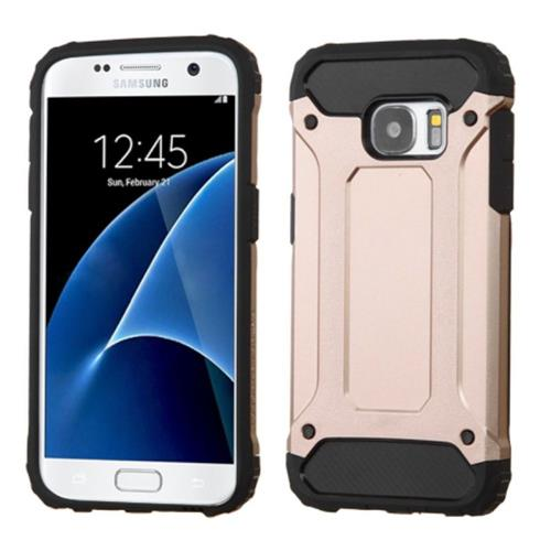 Insten Hard Hybrid Rubberized Silicone Case For Samsung Galaxy S7, Rose Gold/Black