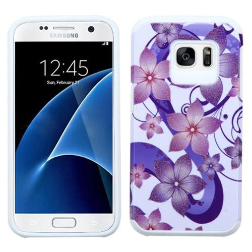 Insten Hibiscus Flower Romance Hard Dual Layer Silicone Case For Samsung Galaxy S7, Purple/White