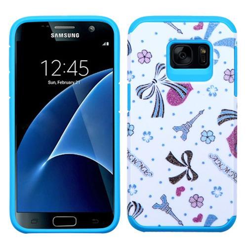 Insten Eiffel Tower Hard Hybrid Silicone Case For Samsung Galaxy S7, Blue/White