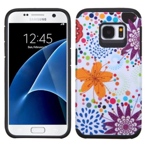 Insten Flower Buds Hard Dual Layer Rubberized Silicone Case For Samsung Galaxy S7, Orange/White