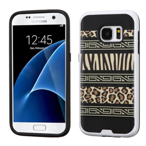 Insten Zebra Hard Dual Layer Rubber Coated Silicone Case For Samsung Galaxy S7, Black/Brown