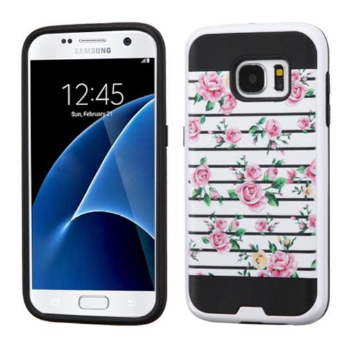Insten Fresh Roses Hard Dual Layer Rubber Coated Silicone Case For Samsung Galaxy S7, Pink/White