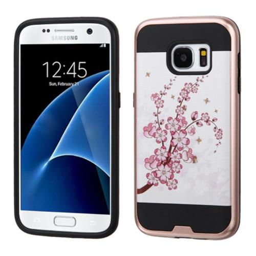 Insten Spring Flowers Hard Hybrid Silicone Cover Case For Samsung Galaxy S7, Pink/White