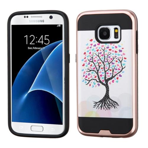 Insten Love Tree Hard Dual Layer Rubber Coated Silicone Case For Samsung Galaxy S7, Pink/White