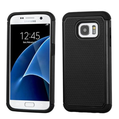 Insten Hard Dual Layer Silicone Cover Case For Samsung Galaxy S7, Black