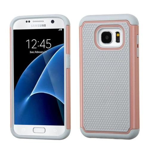 Insten Hard Hybrid Rubber Coated Silicone Cover Case For Samsung Galaxy S7, Gray/Rose Gold