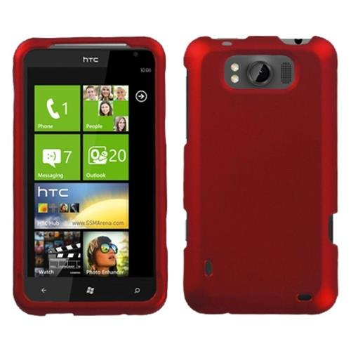 Insten Hard Rubber Coated Cover Case For HTC Titan, Red