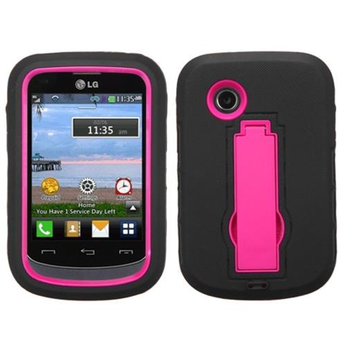 Insten Symbiosis Soft Hybrid Rubber Hard Cover Case w/stand For LG 306G, Black/Hot Pink