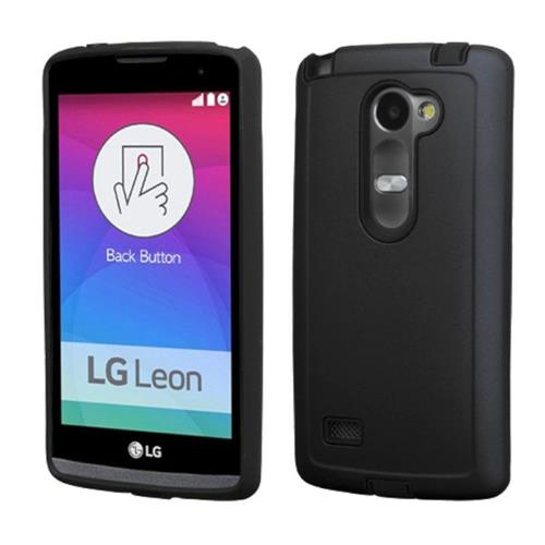 Insten Hard Dual Layer Rubber Silicone Cover Case For LG Leon/Tribute 2, Black