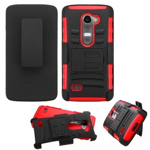 Insten Hard Hybrid Plastic Silicone Case w/Holster For LG Leon, Black/Red