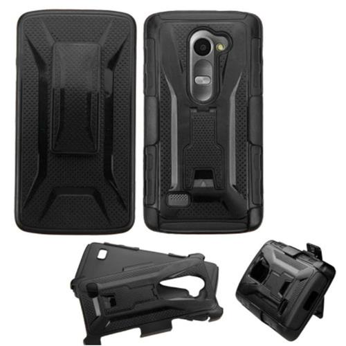 Insten Hard Hybrid Plastic Silicone Case w/Holster For LG Leon, Black