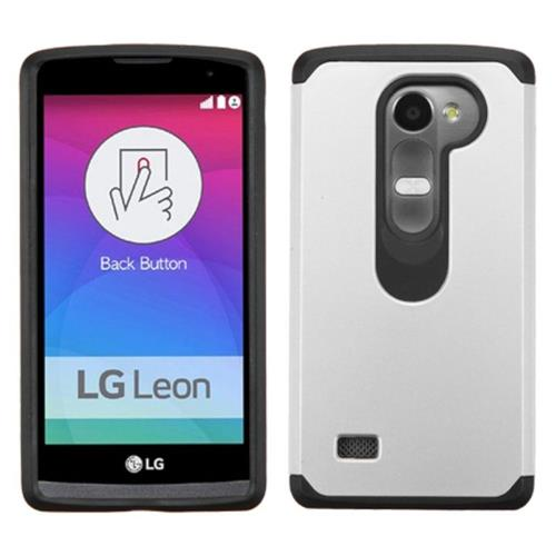 Insten Hard Dual Layer Rubber Silicone Cover Case For LG Leon, Silver/Black