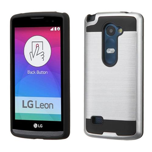 Insten Hard Dual Layer Silicone Cover Case For LG Leon/Risio/Tribute 2, Silver/Black