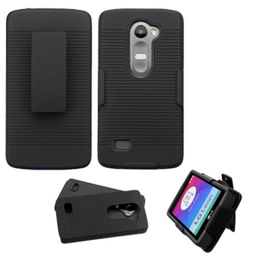 Insten Hard Dual Layer Rubber Coated Silicone Case w/Holster For LG Leon/Tribute 2, Black