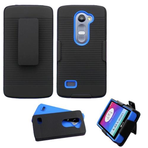Insten Hard Hybrid Silicone Cover Case w/Holster For LG Leon/Tribute 2, Black/Blue