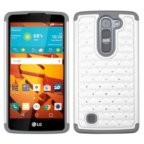 Insten Hard Dual Layer Silicone Cover Case w/Diamond For LG Volt 2, White/Gray