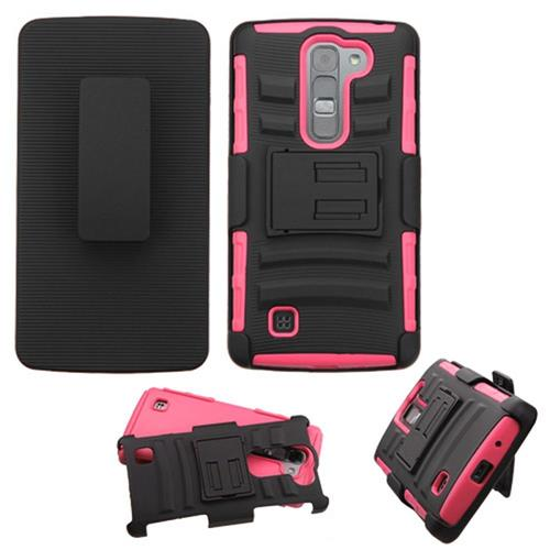 Insten Hard Hybrid Plastic Silicone Case w/Holster For LG Magna/Volt 2, Black/Hot Pink