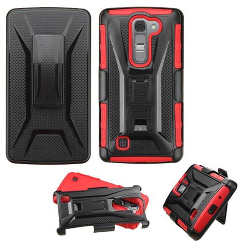 Insten Hard Hybrid Plastic Silicone Cover Case w/Holster For LG Magna/Volt 2, Black/Red