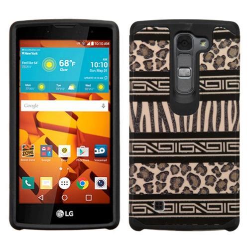 Insten Zebra Hard Hybrid Rubberized Silicone Cover Case For LG Magna/Volt 2, Brown/Black