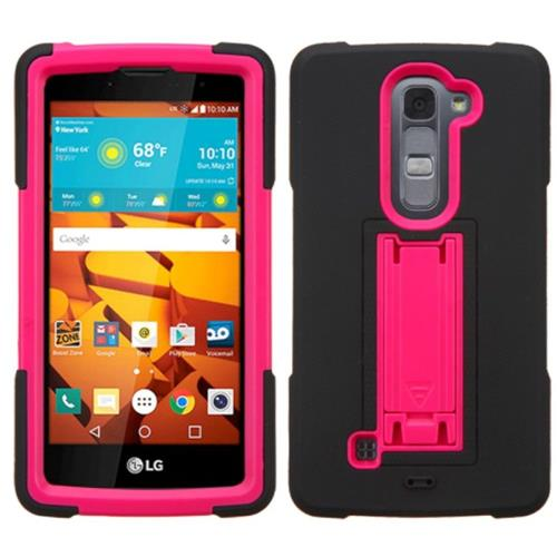 Insten Symbiosis Gel Dual Layer Rubber Hard Cover Case w/stand For LG Magna/Volt 2, Black/Hot Pink