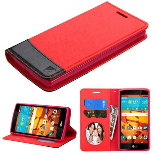Insten Book-Style Leather Fabric Case w/stand/card slot/Photo Display For LG Magna/Volt 2, Red/Black