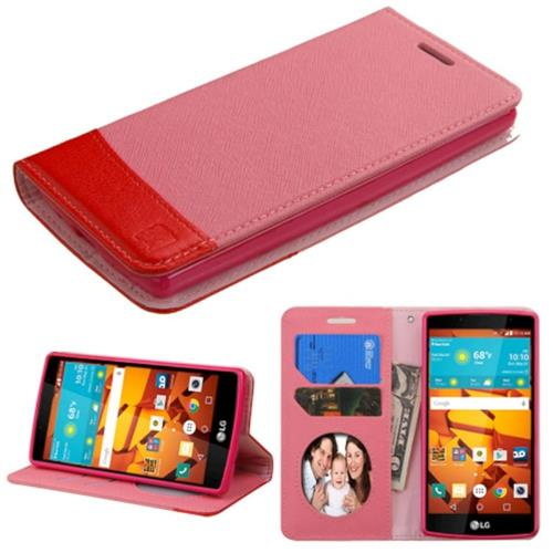 Insten Book-Style Leather Fabric Case w/stand/card slot/Photo Display For LG Magna/Volt 2, Pink/Red