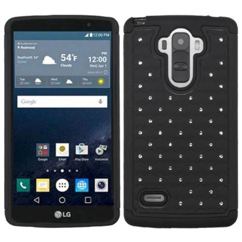 Insten Hard Dual Layer Rubberized Silicone Cover Case w/Diamond For LG G Stylo, Black