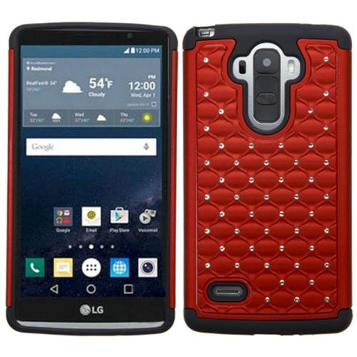 Insten Hard Dual Layer Rubber Silicone Case w/Diamond For LG G Stylo, Red/Black