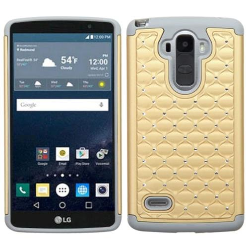 Insten Hard Dual Layer Rubberized Silicone Cover Case w/Diamond For LG G Stylo, Gold/Gray