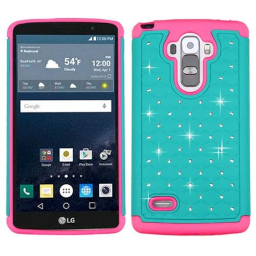 Insten Hard Dual Layer Rubber Silicone Case w/Diamond For LG G Stylo/G Vista 2, Teal/Pink