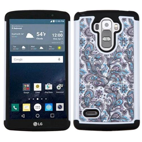 Insten European Flowers Hard Hybrid Silicone Case w/Diamond For LG G Stylo/G Vista 2, Purple/White