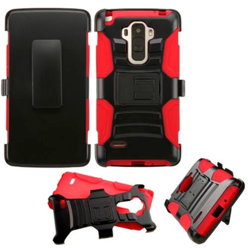 Insten Hard Dual Layer Plastic Silicone Cover Case w/Holster For LG G Stylo, Black/Red