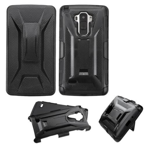 Insten Hard Hybrid Plastic Silicone Cover Case w/Holster For LG G Stylo, Black