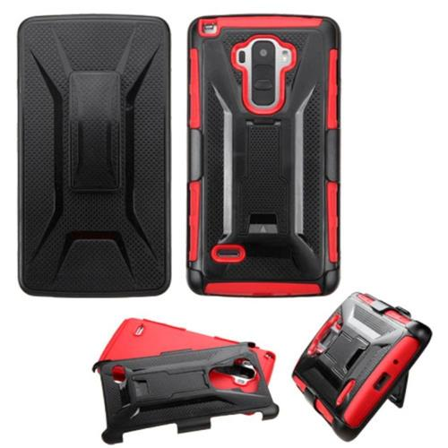 Insten Hard Dual Layer Plastic Silicone Case w/Holster For LG G Stylo, Black/Red