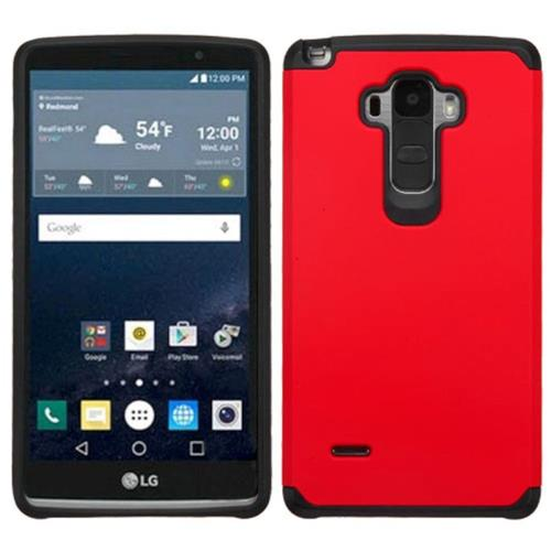 Insten Hard Dual Layer Rubber Coated Silicone Case For LG G Stylo, Red/Black