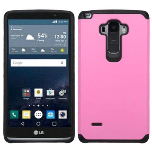 Insten Hard Dual Layer Rubber Coated Silicone Case For LG G Stylo, Pink/Black