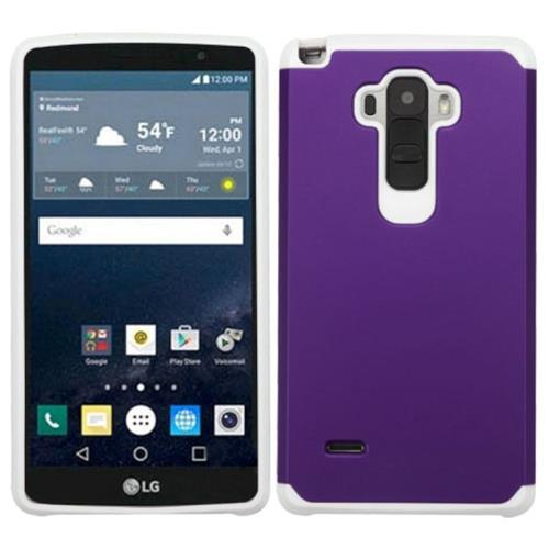 Insten Hard Hybrid Rubber Silicone Cover Case For LG G Stylo, Purple/White
