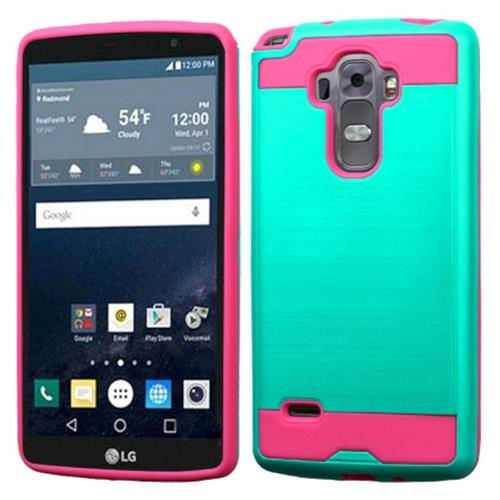 Insten Hard Hybrid Silicone Cover Case For LG G Stylo/G Vista 2, Green/Hot Pink