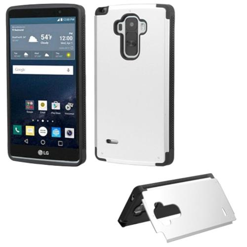 Insten Hard Rubberized Case w/card slot For LG G Stylo, Silver