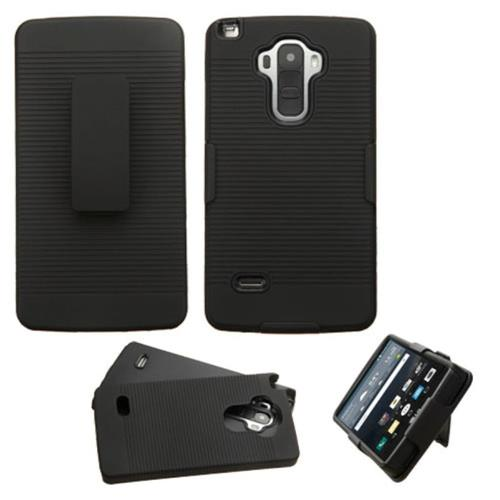 Insten Hard Rubber Coated Case w/Holster For LG G Stylo, Black